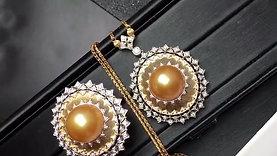 0.59ct Diamond, AAAA 13-14mm Golden South Sea Pearl Luxury Pendant 18k Gold