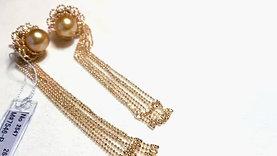 10 mm Golden South Sea Pearl Tassel Earring 18k Gold - AAAA