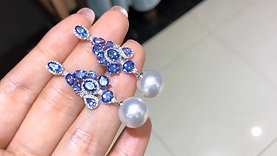 6.0ct Tanzanite, AAAA 11-12 mm South Sea Pearl Earrings 18k Gold w/ Diamond