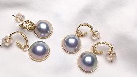 13-14mm Mabe Pearl Earrings 18k Gold, Wear Tow Ways - AAAA