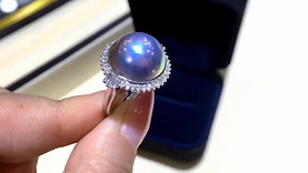 14-15 mm Mabe Pearl Ring, 18k White Gold w/ Diamond - AAAA