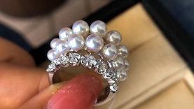 PMS AAAA 3-6 mm Baby Akoya Luxury Pearl Ring 18k Gold w/ Diamond