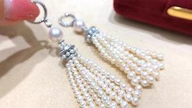 1.60ct Diamond, AAAA 8-8.5mm Akoya Pearl Tassel Earrings 18k Gold