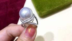 14 mm White South Sea Pearl Luxury Ring, 18k White Gold w/ Diamond - AAAA