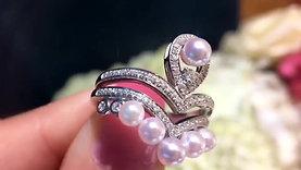 0.65ct Diamond, AAAA 3-4.5 mm Baby Akoya Pearl Stackable Crown Ring Set 18k Gold