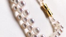 AAAA 5-6mm Baby Akoya Pearl Bracelet K Gold Clasp