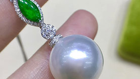 Royal Green Ntl Jade, AAAA 15-16 mm South Sea Pearl Pendant, 18k Gold w/ Diamond