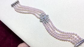 0.42ct Diamond, AAAA 3.5-4 mm Baby Akoya Pearl Vintage Bracelet 18k Gold