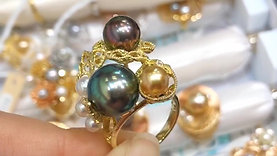 AAAA 3.5-12 mm Multi-color Tahitian Pearl Ring 18k Gold w/ Diamond