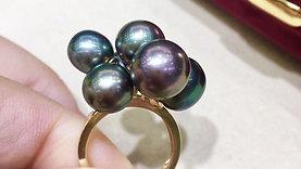 AAAA 8-11 mm Multicolor Tahitian Pearl Ring 18k Gold