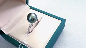 12-13 mm Tahitian Pearl Ring, 18k Gold w/ Diamond - AAAA