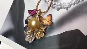 13-14mm Golden South Sea Pearl Pendant, 18k Gold w/ Diamond - AAAA