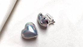 15 mm Heart Mabe Pearl Earrings 18k White Gold - AAAA