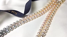 65cm Long Necklace, AAAA 8-8.5 mm Multiple Pearls Gradient Ombre Strand