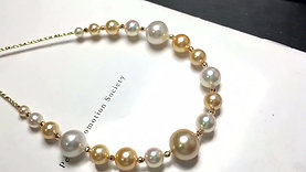 45cm, AAA 4-12 mm South Sea Pearl and Akoya Pearl Tin Cup Necklace