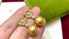 0.84ct Diamond, AAAA 11.6 mm South Sea Pearl Classic Earrings , 18k Gold