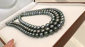 45cm 8-10.5 mm Peacock|黑蝶真珠 Tahitian Pearl Necklace Earrings Set w/ J. C.