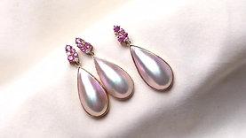 11 X 30mm Drop Mabe Pearl Earrings, 18k Gold w/ Diamond - AAA