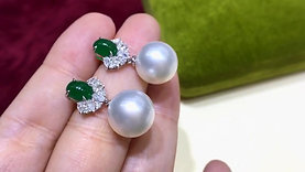 1.50ct Vivid Emerald, AAAA 11-12 mm South Sea Pearl Earrings 18k Gold w/ Diamond