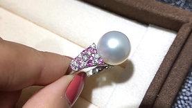 0.60ct Diamond, AAAA 14-15mm South Sea Pearl Luxury Ring, 18k Gold w/ Sapphire