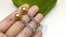0.95ct Diamond AAAA 9-10 mm South Sea Pearl Classic Earrings 18k Gold