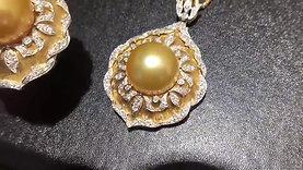 13-14 mm South Sea Pearl Royal Pendant, 18k Gold w/ Diamond - AAAA