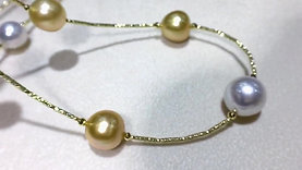 58cm 9.5-12.5 mm South Sea Pearl Tin Cup Necklace 18k Gold - AAA