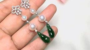 EJ013-Natural Spicy Green Burmese Jade, AAAA 6-8.5 mm Akoya Pearl Earrings 18k Gold