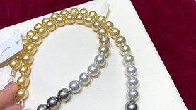 62cm Long Necklace, AAA 9.5-10 mm Multiple Pearls Gradient Ombre Strand