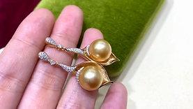 0.38ct Diamond AAAA 10-11 mm South Sea Pearl Classic Earrings , 18k Gold