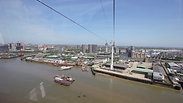 Cable cart ride over dockland