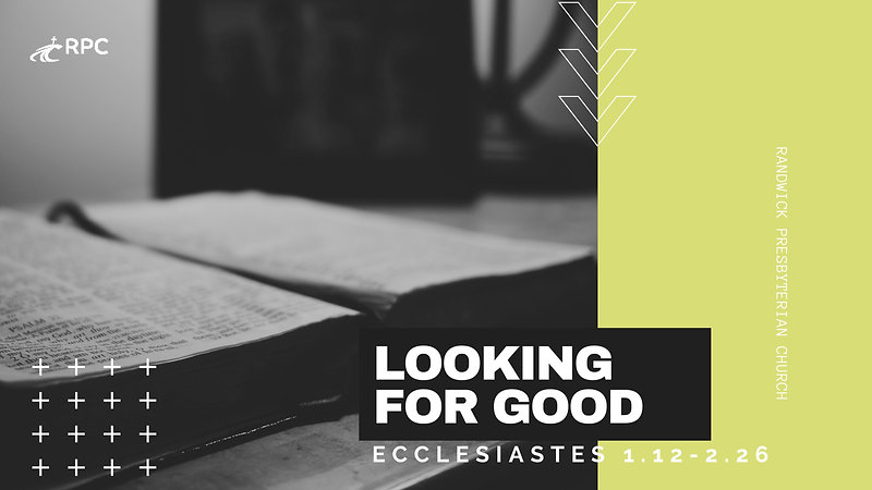 26APR Look for good. Ecclesiastes 1:12 - 2:26