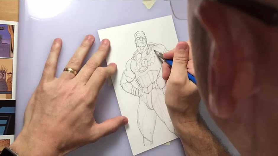 Andy draws Sam Wilson Captain America