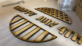 Laser cutting 4th july sign
