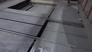 Rail system before heat treatment furnace