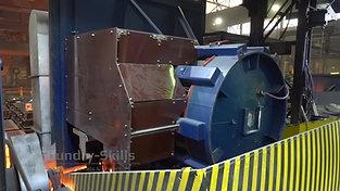 Back of a tilted induction furnace