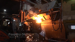 Melt transfer from tilting induction furnace