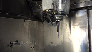 Interior of a CNC machine with milling head
