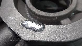 Repair welding of an aluminum component detail view