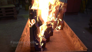 Flame drying of hand dipped sand cores