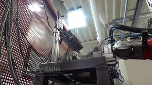 Casting part removal robot in front of high pressure die casting machine