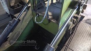 Underside of a gravity die casting machine