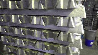 Aluminum ingots on palett