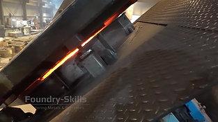 Tilting process of a crucible induction furnace