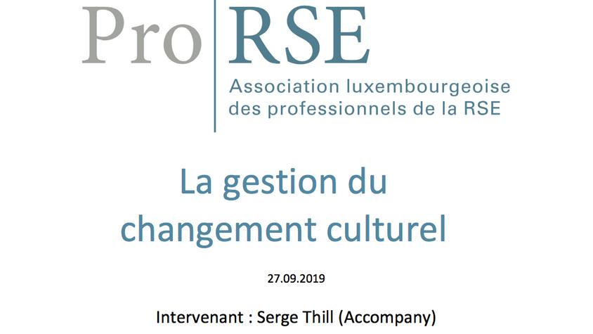 La gestion du changement culturel - 27 septembre 2019