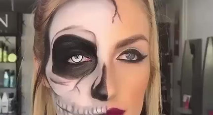 Female Halloween Skull Makeup