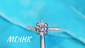 French Pave Diamond Moissanite Ring