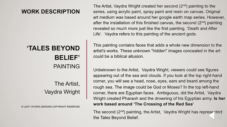 Beyond Your Belief ... The Artist, Vaydra Wright