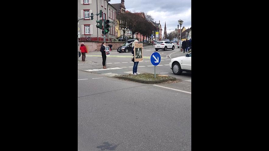 Ampel-Aktion Anti-Pelz in Offenburg
