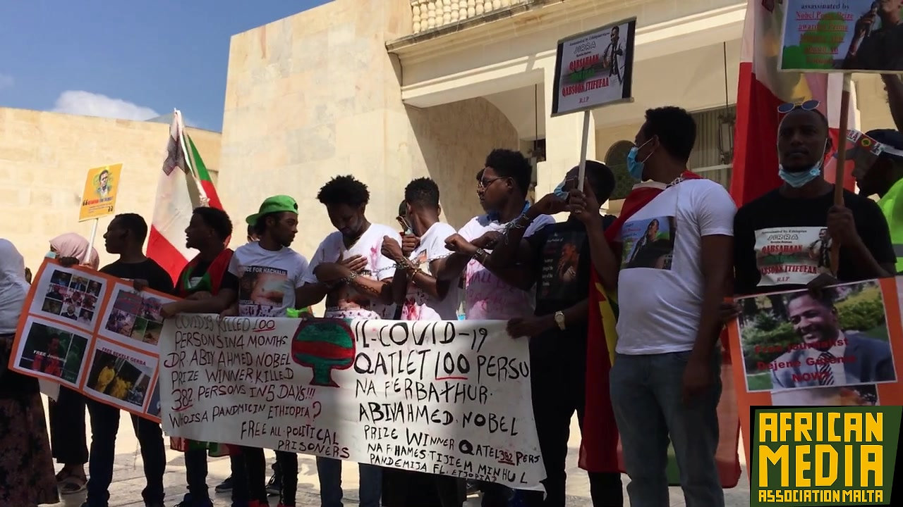 Ethiopian protest in Valletta